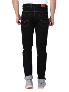 Men's Black Denim Solid Slim Fit Low-Rise Jeans - Tee-Zoo