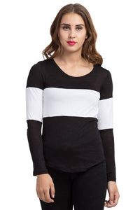 Round Neck Full Sleeve Casual Black Color Women's T-Shirt - Tee-Zoo
