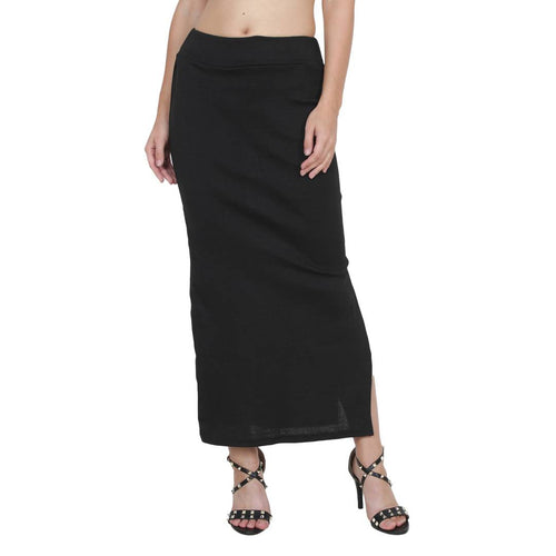 Women's Solid Black Color Pencil Skirt - Tee-Zoo