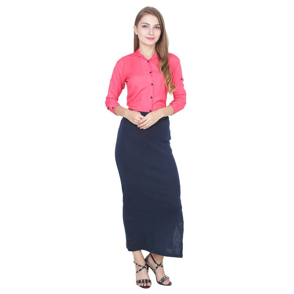 Women's Solid Navy Blue Color Pencil Skirt - Tee-Zoo
