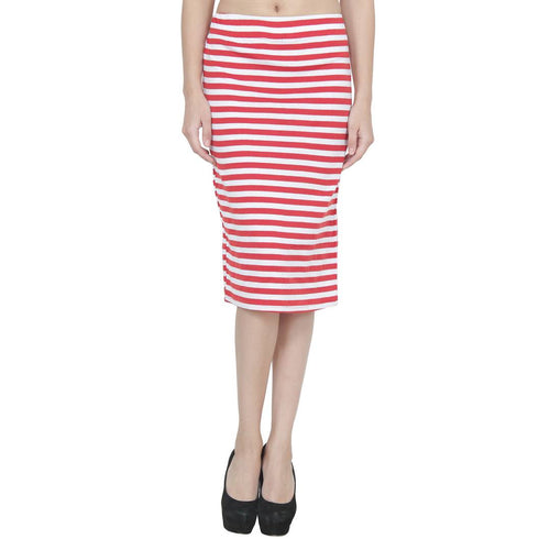 Women's Midi Length Red Pencil Skirt - Tee-Zoo