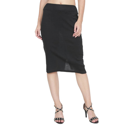 Women's Black Color Pencil Skirt - Tee-Zoo
