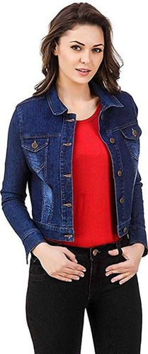 Denim Open Front Jacket for Women's - Tee-Zoo
