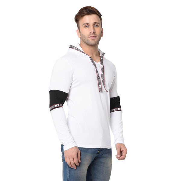 Men's White Typography Cotton Self Pattern Hooded T-Shirt - Tee-Zoo