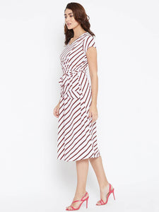 Elegant White Striped Crepe Women's Dress - Tee-Zoo