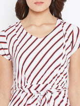 Load image into Gallery viewer, Elegant White Striped Crepe Women's Dress - Tee-Zoo