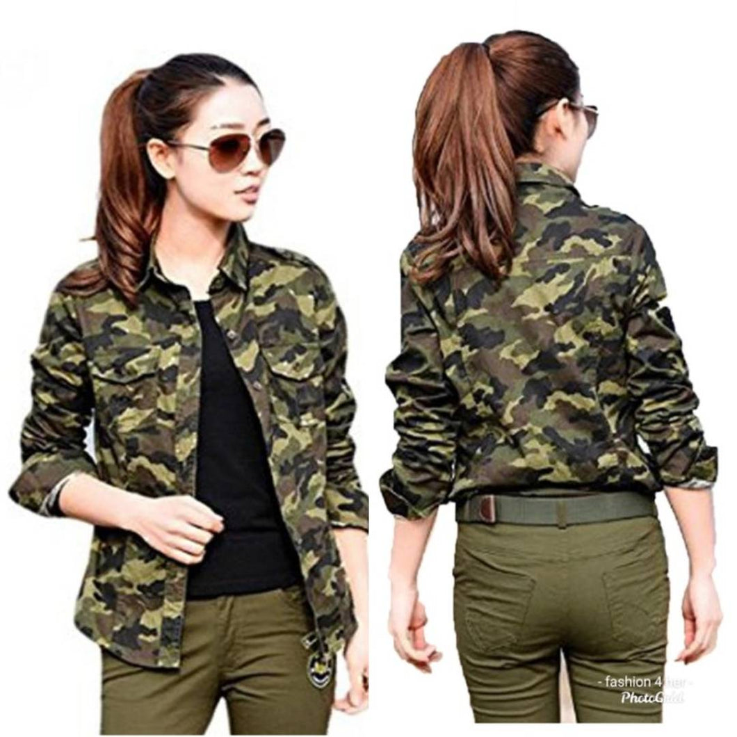Women Camouflage Rayon Regular Fit Shirt - Tee-Zoo