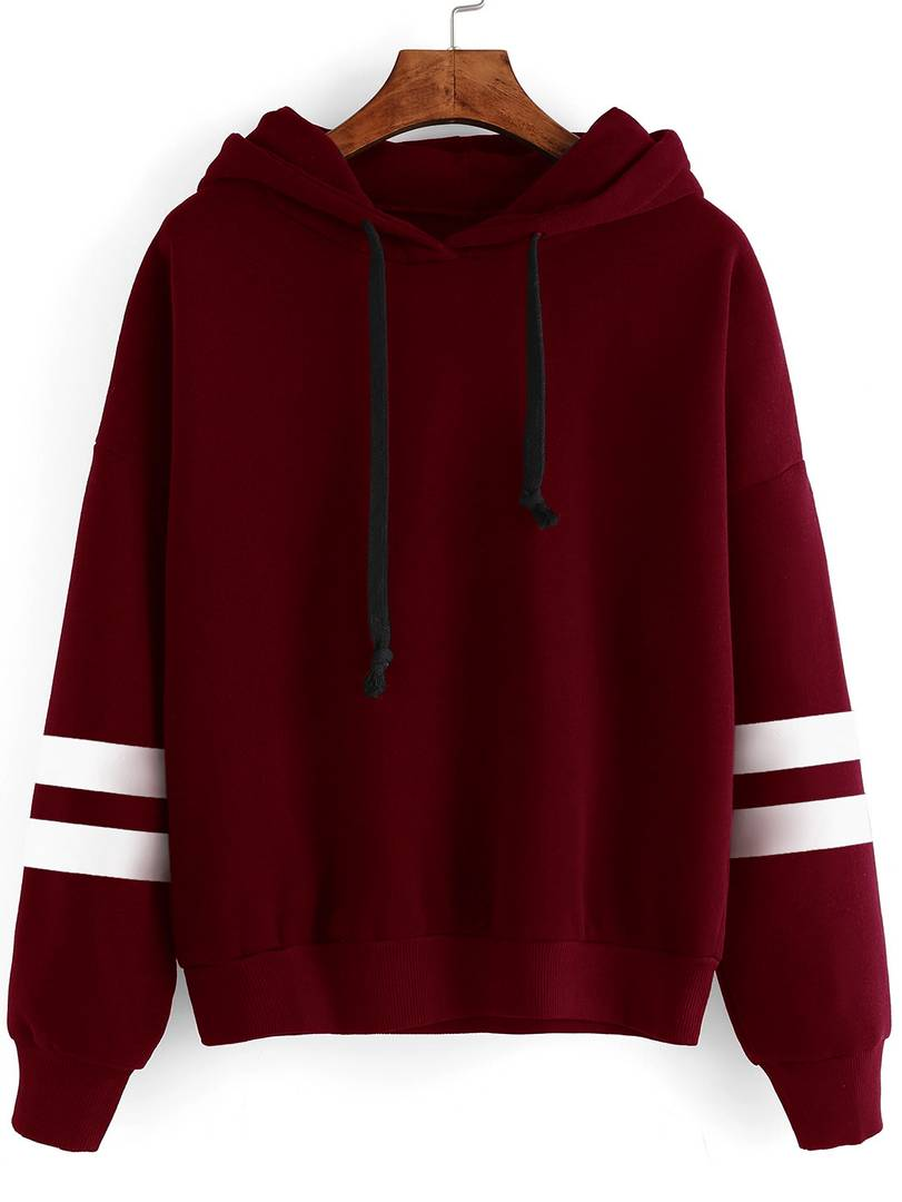 Maroon With White Strip Sweat Shirt - Tee-Zoo