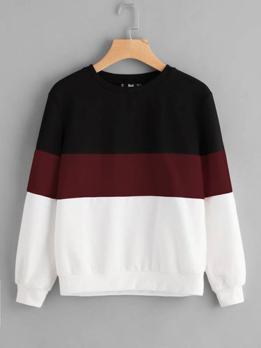 White With Black And Maroon Strip Sweat Shirt - Tee-Zoo