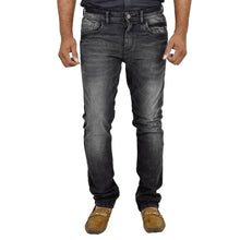 Load image into Gallery viewer, Men's Black Denim Faded Slim Fit Mid-Rise Jeans - Tee-Zoo