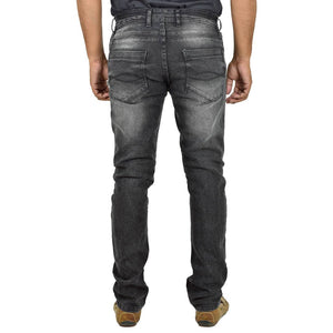 Men's Black Denim Faded Slim Fit Mid-Rise Jeans - Tee-Zoo