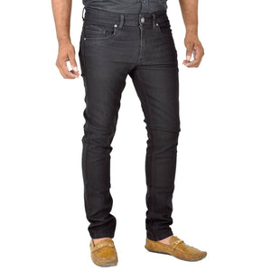 Men's Black Denim Solid Slim Fit Mid-Rise Jeans - Tee-Zoo