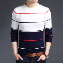 Load image into Gallery viewer, Seven Rocks Men's White Striped Cotton Round Neck Tees - Tee-Zoo