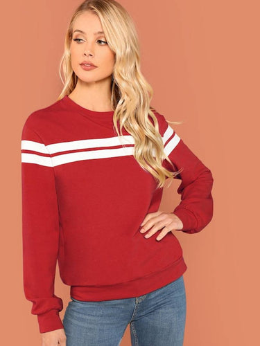 Women's Red Striped Tunic Pullover - Tee-Zoo