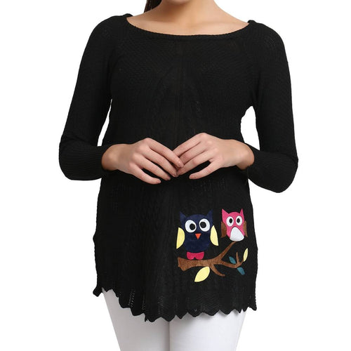 Hot Winter Black Pure Woolen Owl Printed Womens Sweater - Tee-Zoo