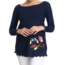 Load image into Gallery viewer, Hot Winter Navy Pure Woolen Owl Printed Womens Sweater - Tee-Zoo