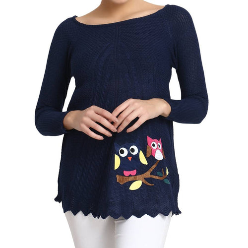 Hot Winter Navy Pure Woolen Owl Printed Womens Sweater - Tee-Zoo