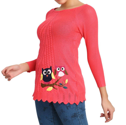Hot Winter Gajri Pure Woolen Owl Printed Womens Sweater - Tee-Zoo