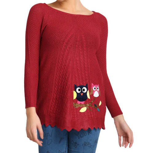 Hot Winter Maroon Pure Woolen Owl Printed Womens Sweater - Tee-Zoo