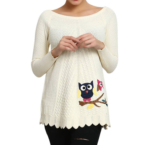 Hot Winter Cream Pure Woolen Owl Printed Womens Sweater - Tee-Zoo