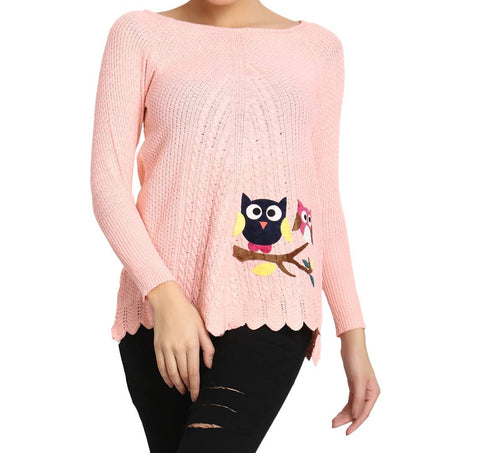 Hot Winter Peach Pure Woolen Owl Printed Womens Sweater - Tee-Zoo