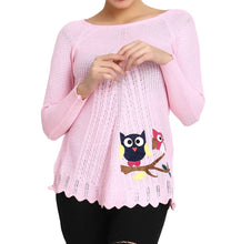 Load image into Gallery viewer, Hot Winter Baby Pink Pure Woolen Owl Printed Womens Sweater - Tee-Zoo