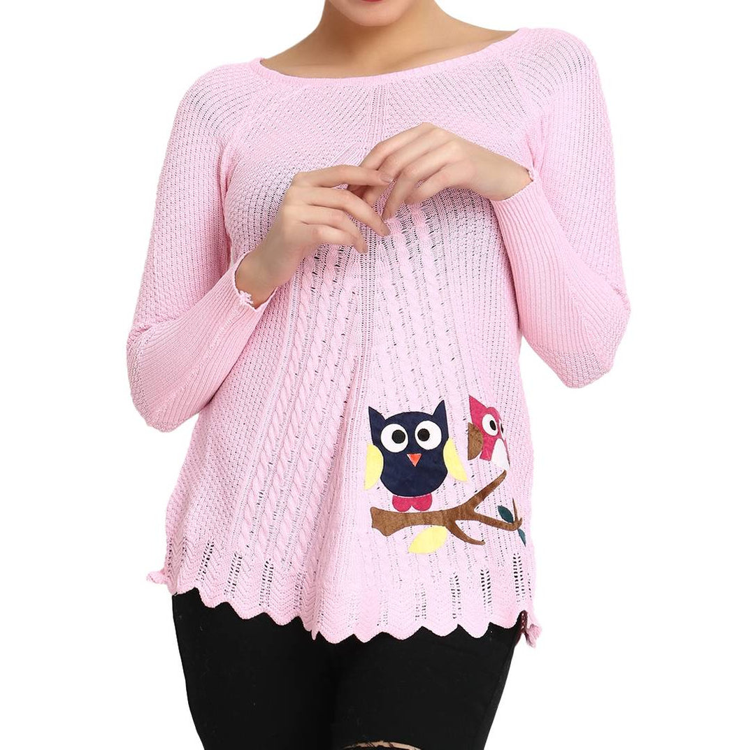 Hot Winter Baby Pink Pure Woolen Owl Printed Womens Sweater - Tee-Zoo