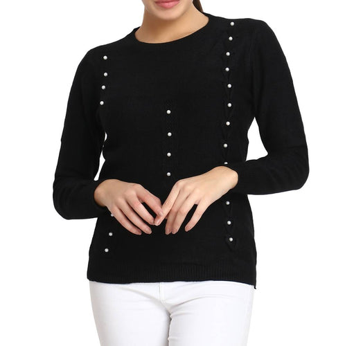 Black Pure Woolen Pearl Embelished Long Sleeve Crew Neck Womens Sweater - Tee-Zoo