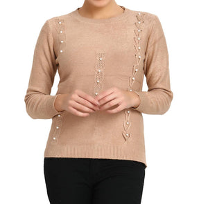 Beige Pure Woolen Pearl Embelished Long Sleeve Crew Neck Womens Sweater - Tee-Zoo