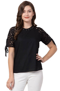 Stylish Solid Lace Sleeve Blouse Top - Tee-Zoo