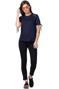 Stylish Rayon Solid Navy Blue Round Neck Top - Tee-Zoo