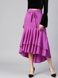 Elegant Polyester Solid Long Ruffle High Low Skirt For Women's - Tee-Zoo