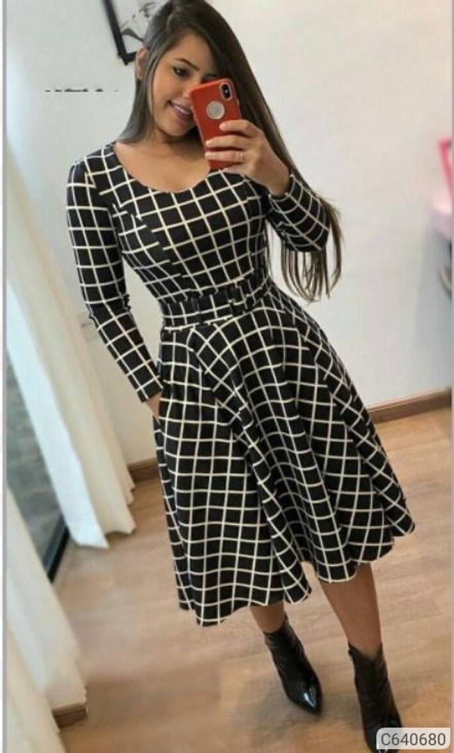 Women Crepe Checked Fit with Flare Dress - Tee-Zoo
