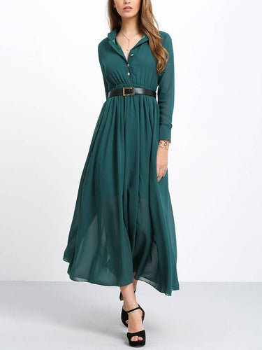 Green Belt Collar Long Maxi Dress - Tee-Zoo