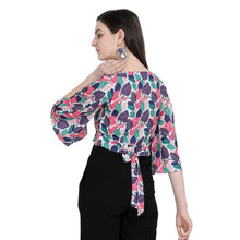 Load image into Gallery viewer, Women Floral Tie-Up Crop Top - Tee-Zoo