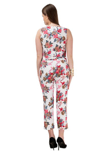 White Printed Polycrepe Stylish Jumpsuit - Tee-Zoo