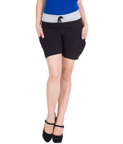 Women Black Cotton Shorts - Tee-Zoo