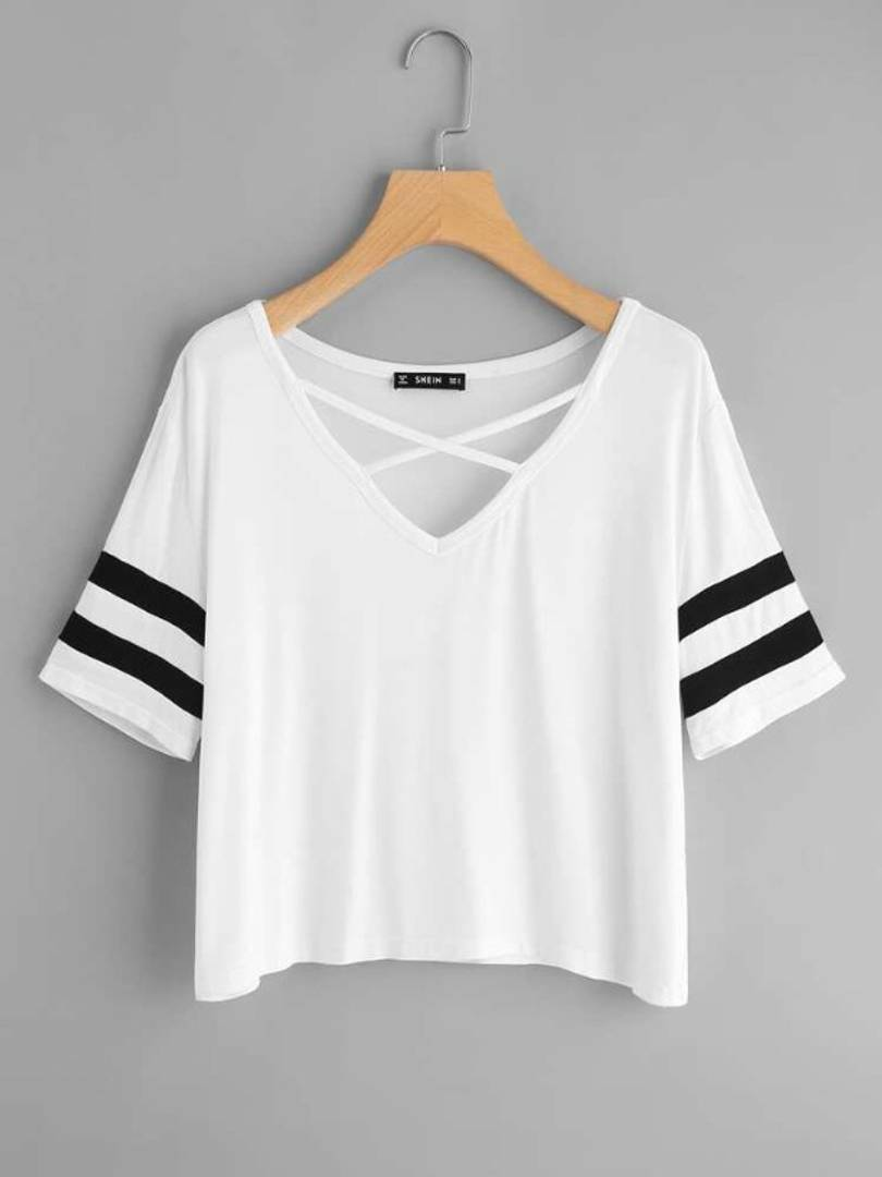 Vivient Women White Plain Cross Neck Top - Tee-Zoo