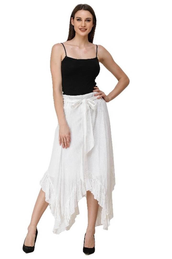 ADIRAV WOMEN COTTON SLUB IVORY FLARED SKIRT - Tee-Zoo