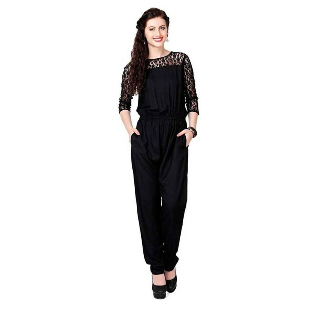 Stylish Crepe Solid Basic Jumpsuit For Women - Tee-Zoo