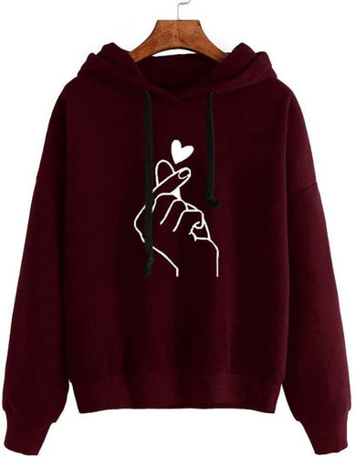 Maroon Hand Print Sweatshirt for women - Tee-Zoo