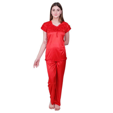 Stylish Red Satin Blend Solid Night Suit - Tee-Zoo