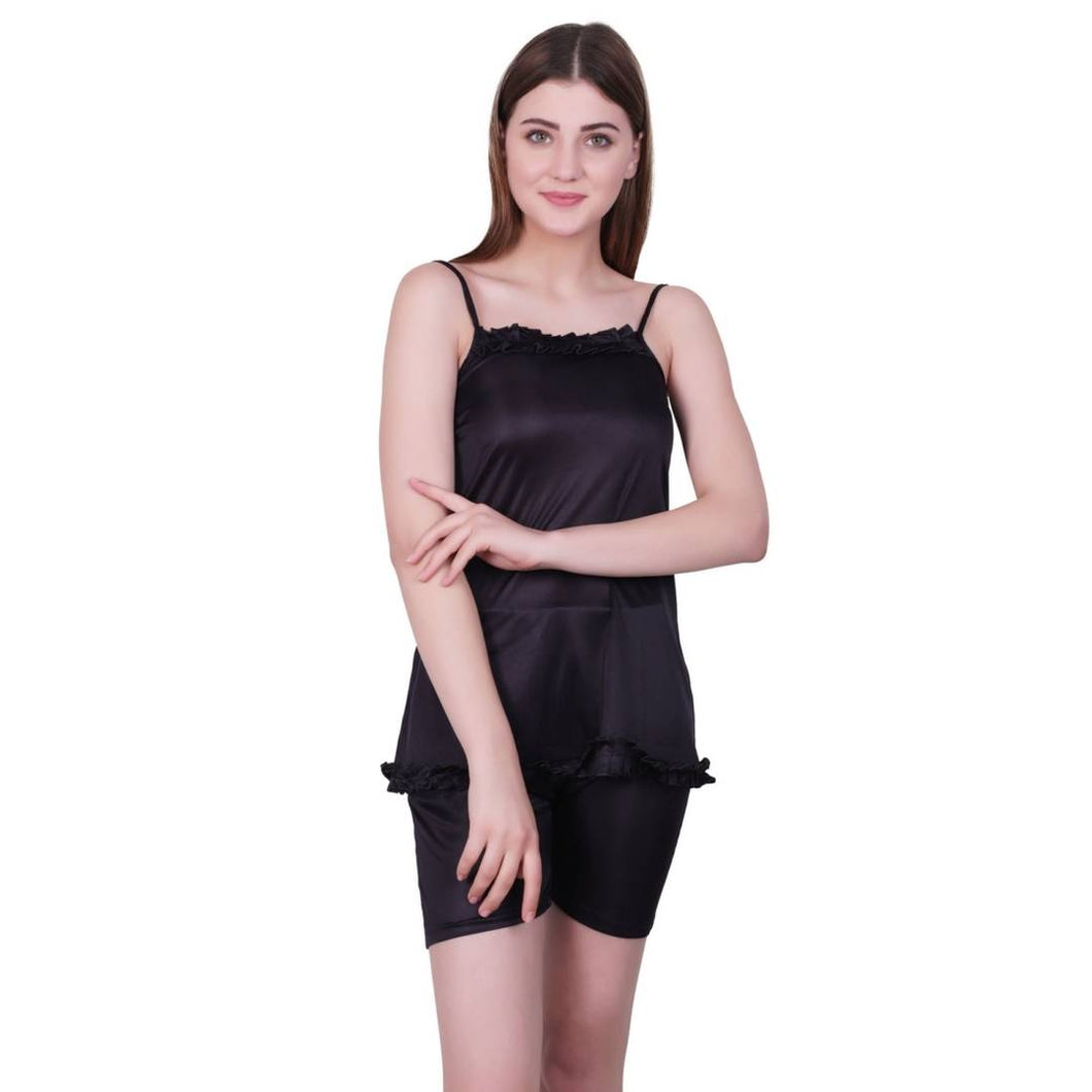 Stylish Black Satin Blend Solid Night Suit - Tee-Zoo