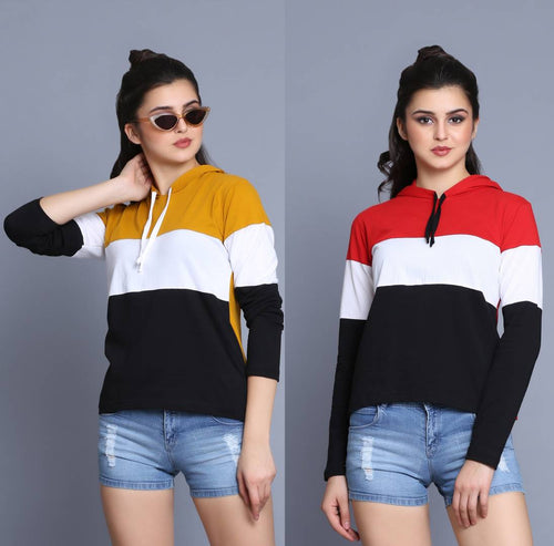 Fancy Multicoloured Cotton Colourblocked Hooded T-Shirt For Women (Set of 2) - Tee-Zoo