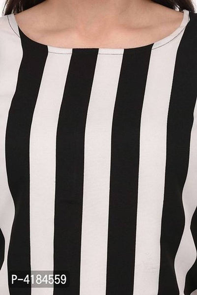 Stylish Black & White Crepe Striped Jumpsuit For Women - Tee-Zoo