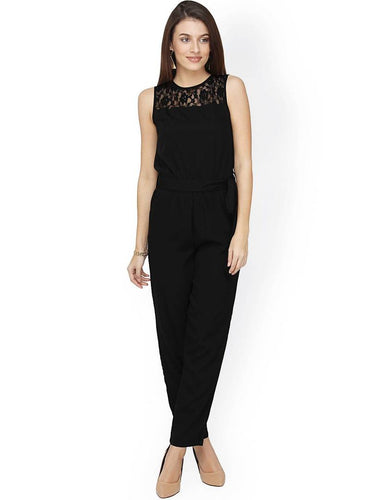 Stylish Black Lace Crepe Solid Jumpsuit For Women - Tee-Zoo