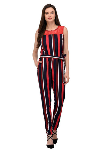 Stylish Red Lace Crepe Striped Jumpsuit For Women - Tee-Zoo