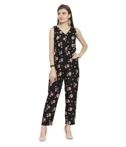 Stylish Black Floral Printed Crepe Jumpsuit For Women - Tee-Zoo