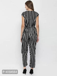 Stylish Black & White Striped Crepe Jumpsuit For Women - Tee-Zoo