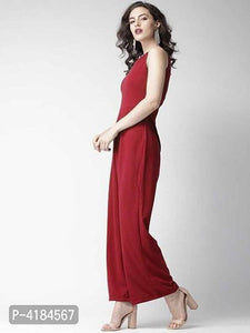 Stylish Maroon Sleeveless Crepe Solid Jumpsuit For Women - Tee-Zoo